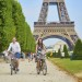 Romantic couple in Paris on a summer day